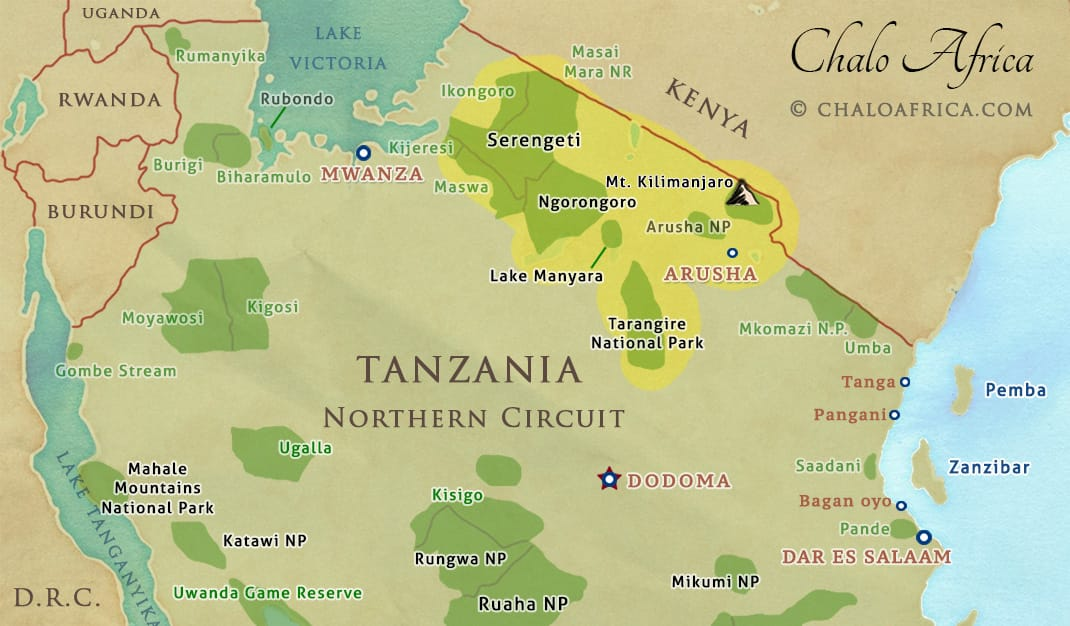 tanzania safari map from india