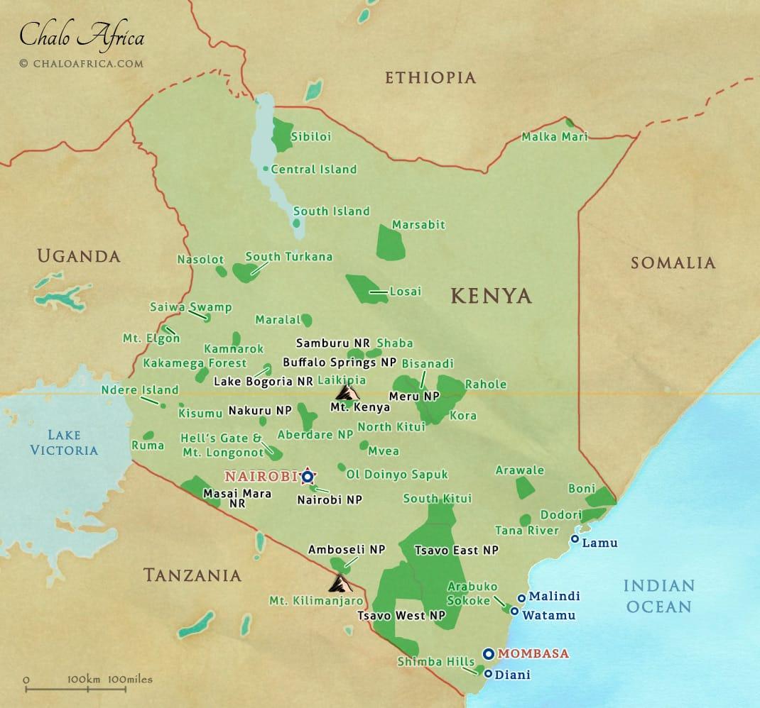 Kenya Safari Map Chalo Africa