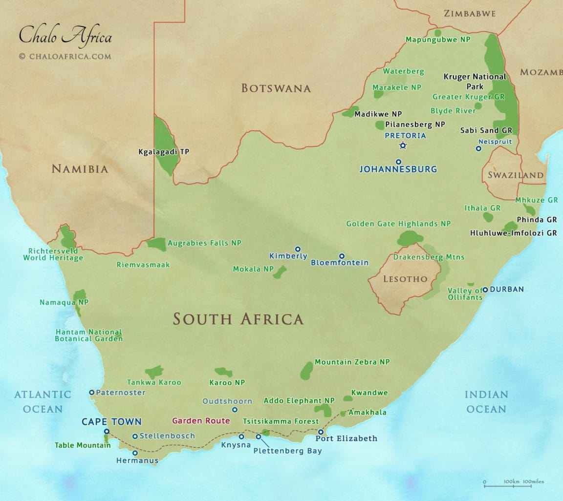 Botswana South Africa Map.South Africa Safari Map Chalo Africa
