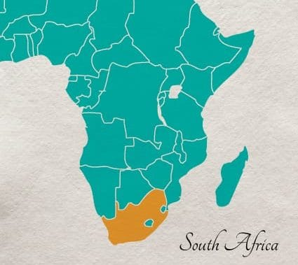 Location of South Africa, an overview map