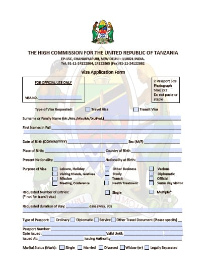 Tanzania visa for indian citizens india chalo africa tanzania visa application form spiritdancerdesigns Gallery