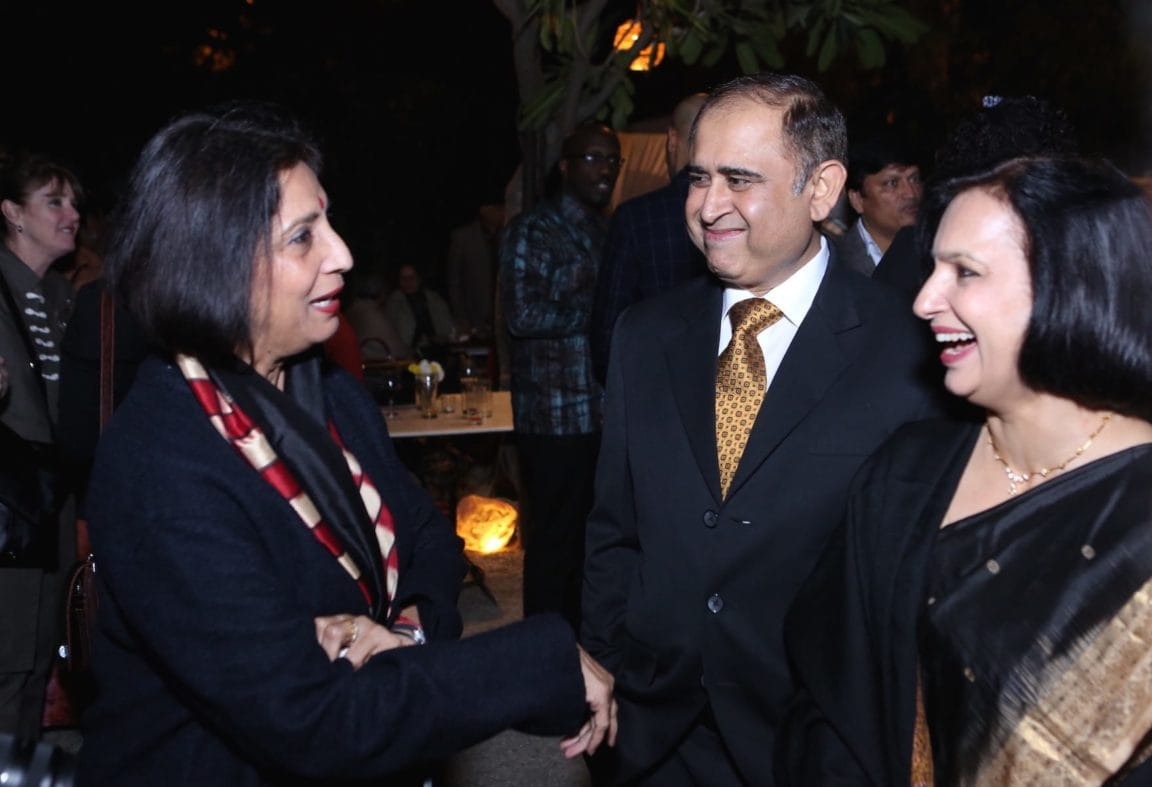 Dr. Neena Malhotra, Joint Secretary (E & SA), Ministry of External Affairs, Government of India with her husband and Rashmi Saksena, Senior Journalist.