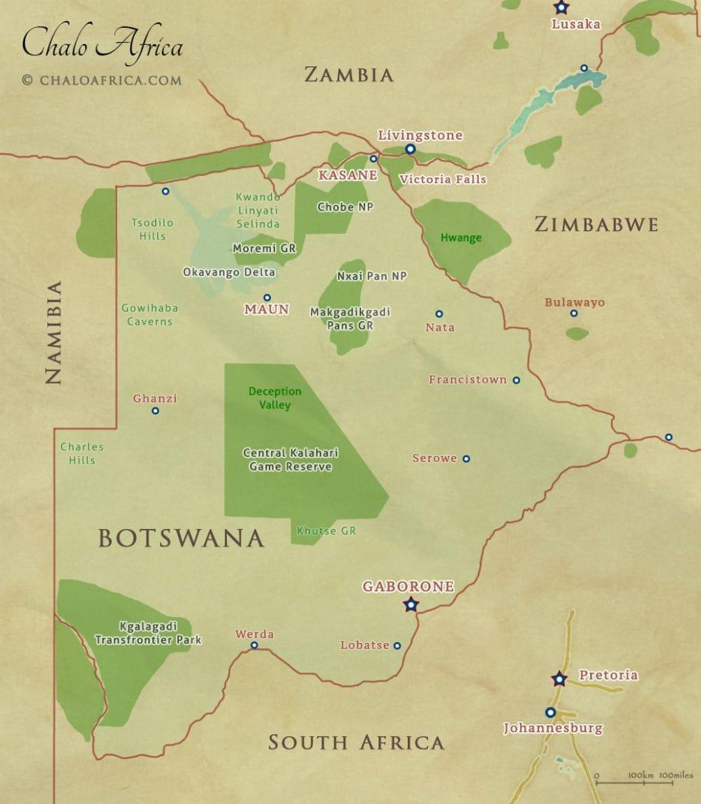 Botswana Map - National Parks