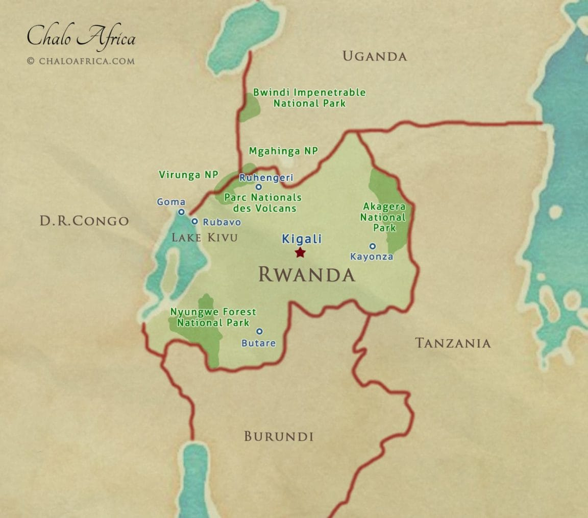 rwanda map national parks safari