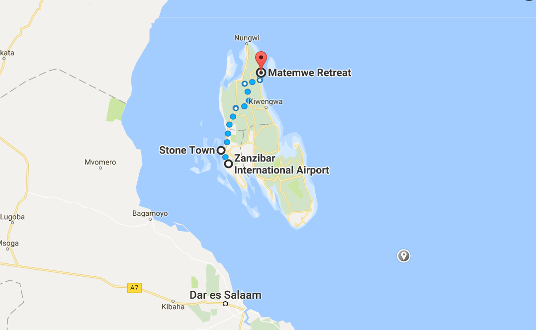 Zanzibar Matemwe Map