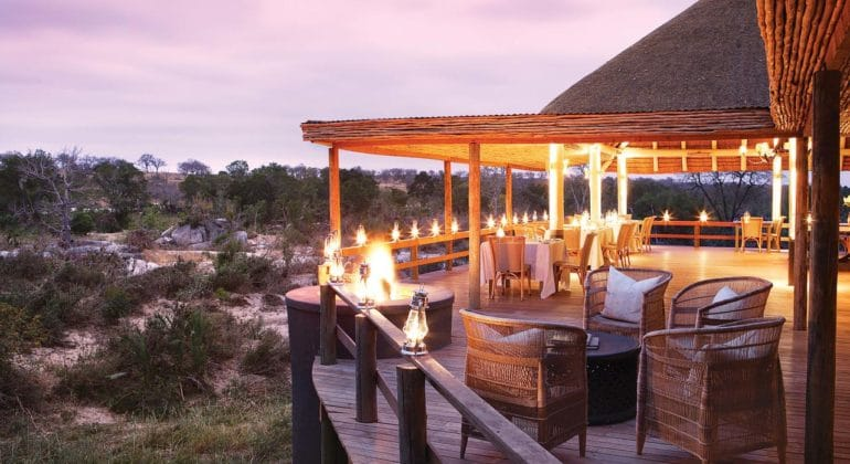 Londolozi Founders Camp Deck At Sunset