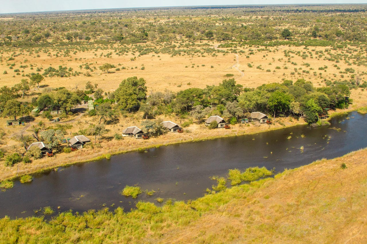 Kwando Lagoon Camp Aerial View