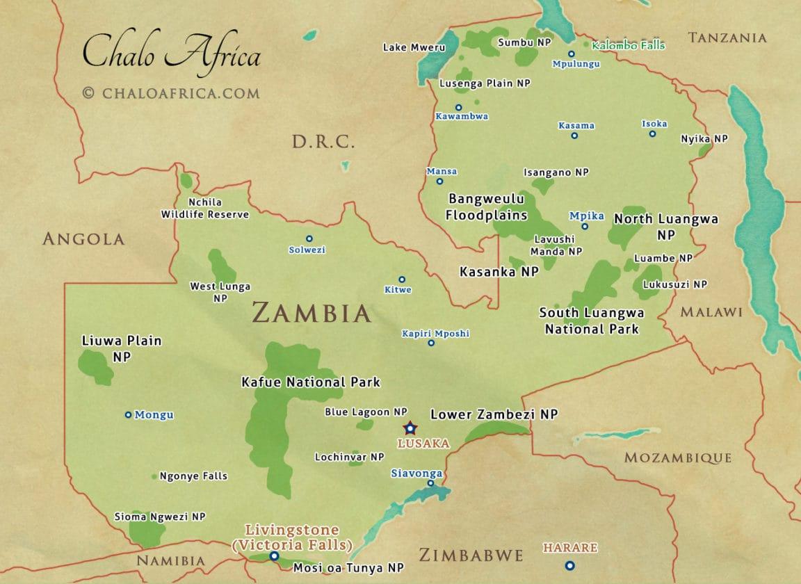 Zambia Map Detailed