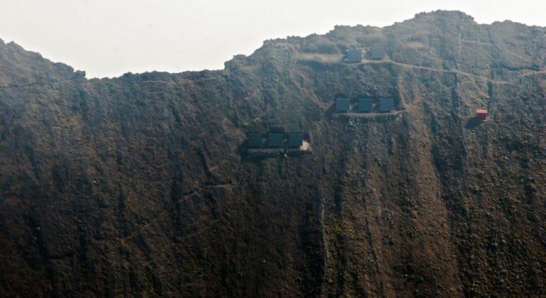 Nyiragongo Volcano Summit Shelters Aerial View