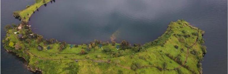 Tchegera Island Camp Aerial View