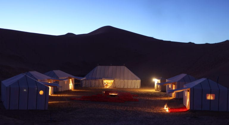 Merzouga Luxury Desert Camps Tent At Night