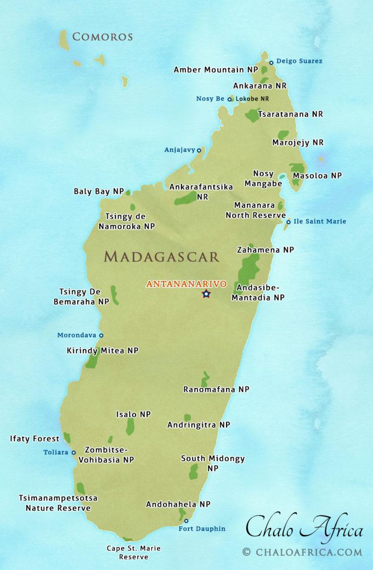 Madagascar Safari Map Chalo Africa